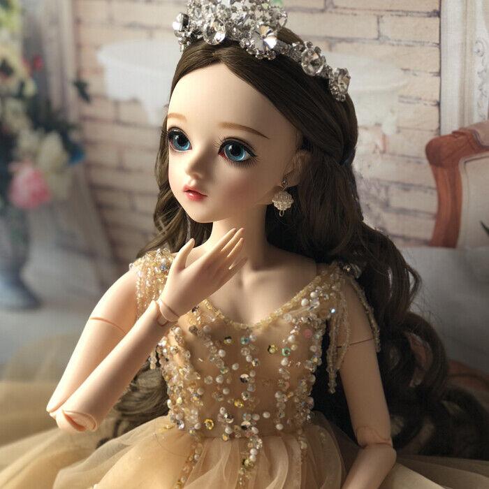 1 3 BJD Doll SD Girl Dolls + Free Face Make Up + Blau Eyes Gold Dress Full Set