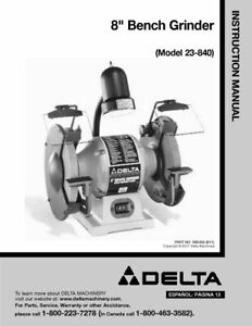 Terrific Details About Delta 23 840 Grinder Owners Instruction Manual Free Shipping Gmtry Best Dining Table And Chair Ideas Images Gmtryco