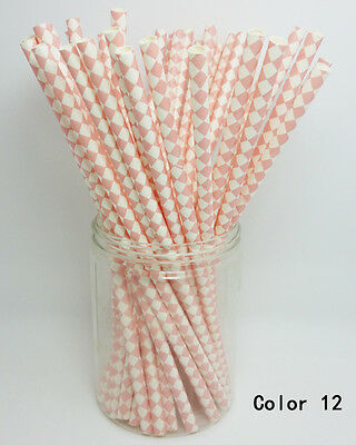 25 PCS Diamond Pattern Paper Drinking Straws For Wedding Birthday Party Gift