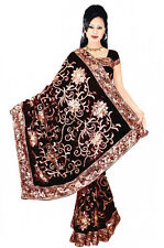 Black Bellydance Bollywood Sequin Embroidery Sari Saree Costume danse du ventre