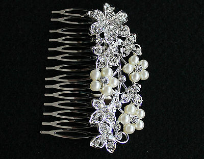 DIAMANTE CRYSTAL SLIDE HAIR SIDE COMB FASCINATOR *BRIDAL/WEDDING/PROM*