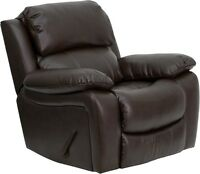 Contemporary Brown Leather Plush Upholstered Rocker Recliner