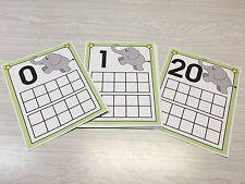 Elephant Count Ten Frames 0-20 Laminated Activity Set - Teaching Supplies