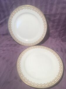2 Haviland Limoges Bread Butter Plate Deco Green Dot Gold Trim