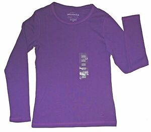 f7128c8ff4 Details about ARIZONA JEAN CO GIRLS CREW NECK JERSEY TEE LS PURE PURPLE  SIZE M 10/12 NEW