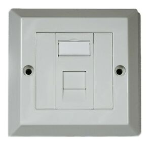 RJ45 Face Plate Wall Socket Cat5e Ethernet Single Gang 1 Port ...