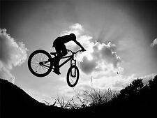 Impresión arte cartel Sport Photo Bici De Bmx De Salto Bicicleta Silueta nofl0445