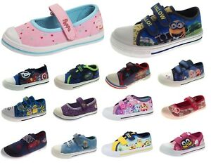 bc78c06770859 Image is loading Kids-Canvas-Pumps-Boys-Girls-Character-Trainers-Summer-