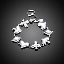 Poker Elements Hot Bracelet Cuff 925 Silver Women Bracelet Bangle Jewelry Gift