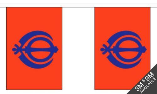10 flag bunting 3 metre long Sikh