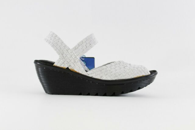 1641c80990f Skechers Parallel Bob N Weave Womens Wedge Sandals White Silver 8.5