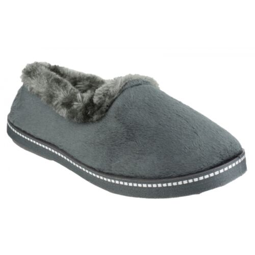 Mirak DIJON Ladies Warm Faux Fur Lined Comfort Slip On Full Slippers Grey