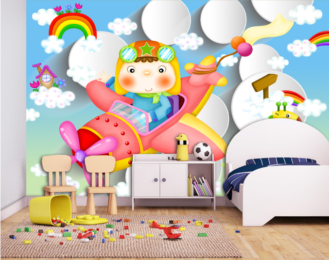 3D Rainbow Aircraft Coulds Paper Wall Print Wall Decal Wall Deco Indoor Murals