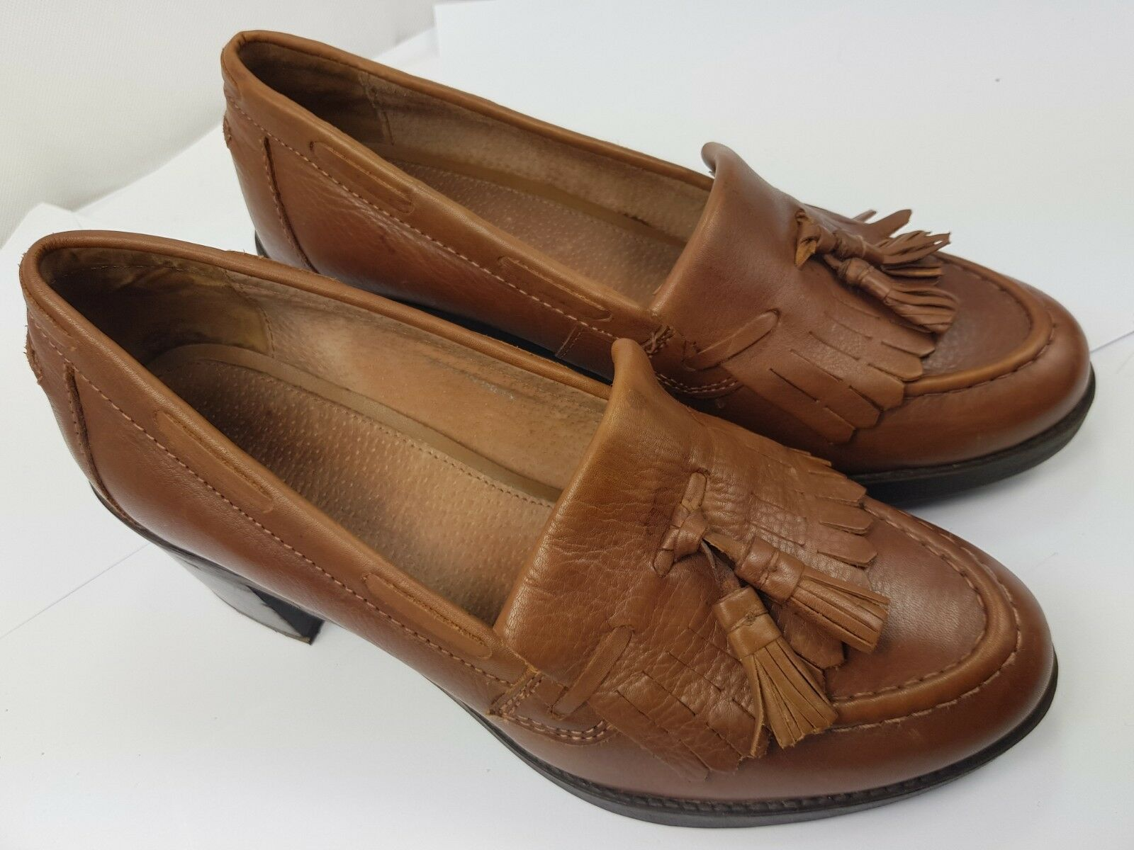 OFFICE Woman's Brown Leather Penny Tassel Slip On Heel shoes - UK 6 - VGC