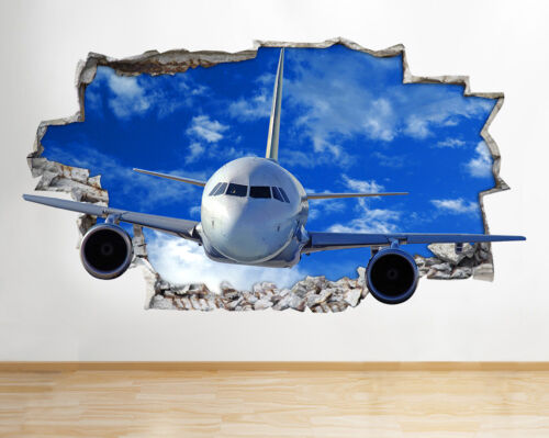 Wall Decal Aeroplane Plane Jet Smashed  Poster 3D Art Stickers Vinyl Room H001