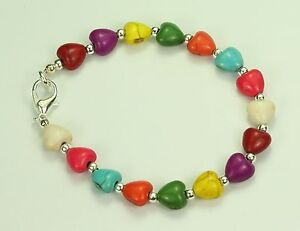 Multi-coloured-dyed-howlite-stone-hearts-bracelet-silver-plated-ball-spacers