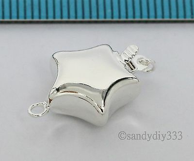 1x BRIGHT STERLING SILVER 1-STRAND PUFF STAR PEARL BOX CLASP 12mm #2611