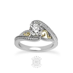 0-73-CT-D-SI1-Round-Natural-Diamonds-18K-Gold-Vintage-Style-Side-Stone-Ring