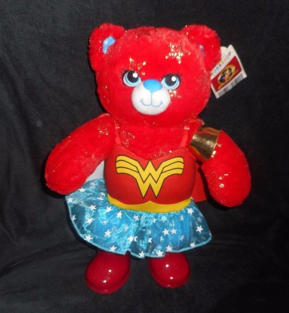 BUILD A BEAR WONDER WOMAN DC COMICS rosso STUFFED ANIMAL PLUSH TOY BABW W/ OUTFIT