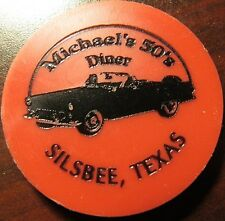 Vintage Michael's 50's Diner Silsbee, TX Red Plastic Trade Token - Texas