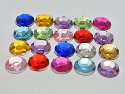 """3//8/"""" No Hole 200 Mixed Color Acrylic Round Flatback Rhinestone Gems 10mm"""