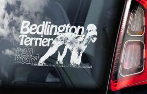 Bedlington-Terrier-On-Board-Auto-Finestrino-Adesivo-Rothbury-Cane-Firmare