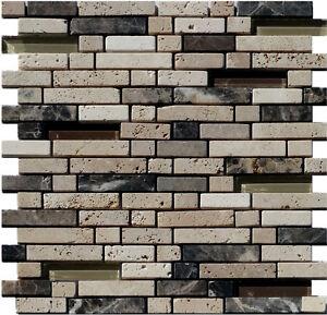 Glas Stein Mosaik Braun Beige Line 15 Granit Marmor Fliesen