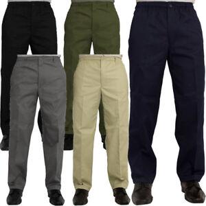 Hombre-Nuevo-Cintura-Elastica-Pantalones-informales-Pantalones-de-trabajo-inteligente-de-Rugby