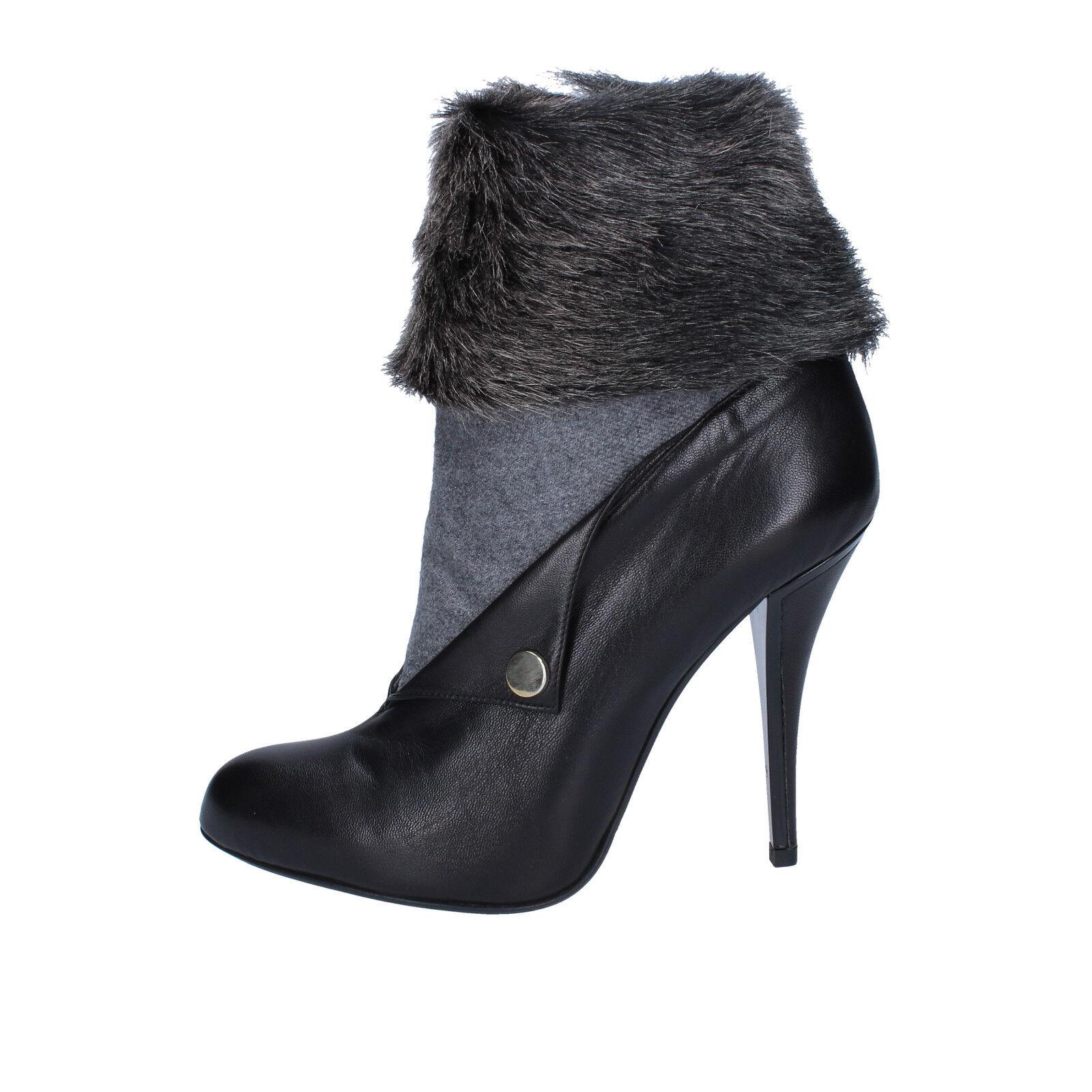 Zapatos señora gianni marra 35 UE botines de cuero negro textil Pelz by756-35