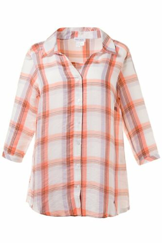 Karo abierto cuello de camisa 3//4 brazo naranja Nuevo Gina Laura blusa