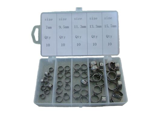 """50 Pieces Assortment Case SS Single Ear Hose Clamps 1//4/""""-5//8/"""" or 7mm-15.7mm S"""
