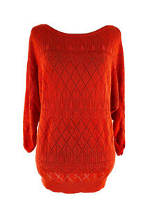 New-York-amp-Company-Women-039-s-Scarlet-Red-3-4-Sleeve-Knit-Sweater-Size-Medium