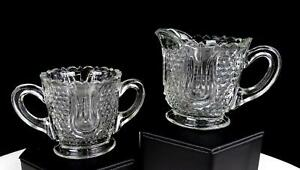 EAPG-FEDERAL-GLASS-WABASH-HONEYCOMB-AND-TULIP-2-3-4-034-CREAMER-AND-SUGAR-BOWL-1914