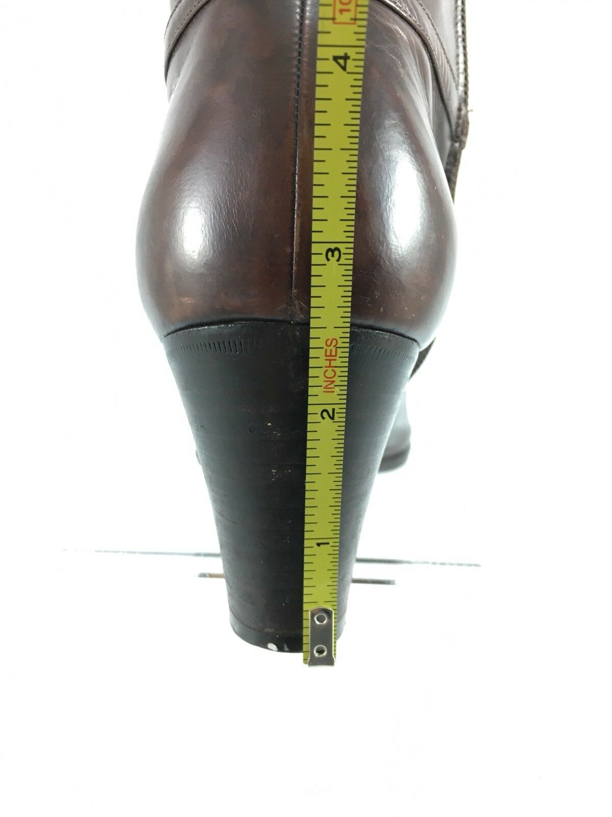SH8 Salvatore Ferragamo Braun 6M  Braun Ferragamo Leder Tall Stiefel Block Heel Zip b8a40d