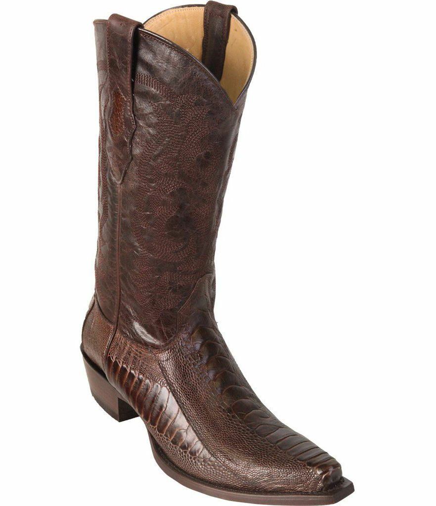 LOS ALTOS BROWN GENUINE SNIP TOE OSTRICH LEG WESTERN COWBOY BOOT (EE+)