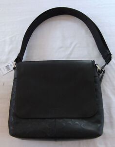 Image is loading NWT-Coach-Charles-Small-Messenger-Black-Signature- Crossgrain- 24263bbc00
