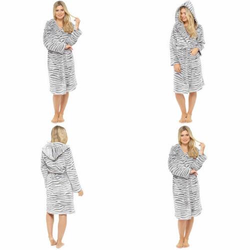 Foxbury Women/'s Tiger Animal Embossed Flannel Fleece Hooded Bath Robe Grey