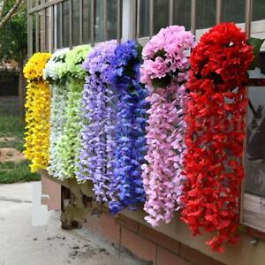 1-Bunch-Artifical-Hydrangea-Flower-Bracketplant-Orchid-Hanging-Garland-Vine