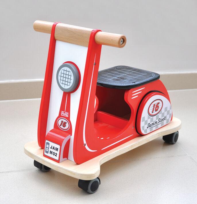 Indigo Jamm de madera Jamm Scoot Scooter, Tractor, Diseño Clásico Retro  Rojo  Racing