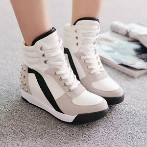 Womens High Top Rivet Girls Casual Trainer Boots Hidden Wedge Heel ...