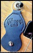 Black Leather Gibson Guitar Pick/Plectrum Holder Keyring