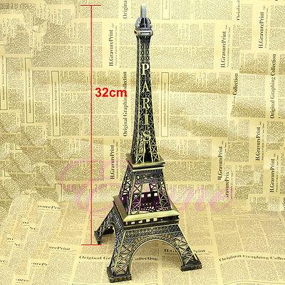 Bronze Tone Paris Eiffel Tower Figurine Statue Vintage Alloy Model Decor 32cm