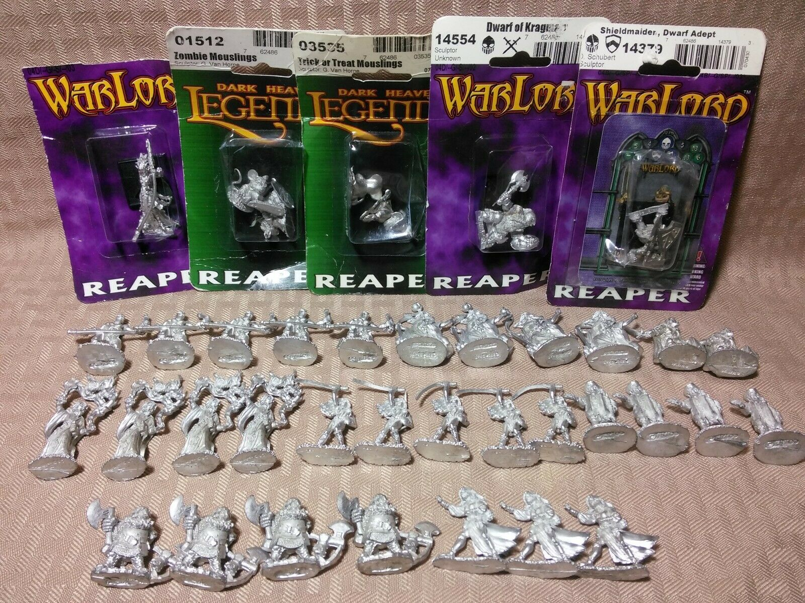 Reaper Miniatures Lot Fantasy Zombie Mouslings Dwarf Wizard Adept 36 Figures