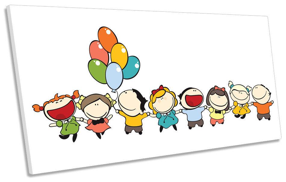 Happy Balloon Kids zimmer PANORAMIC CANVAS wand kunst Framed drucken