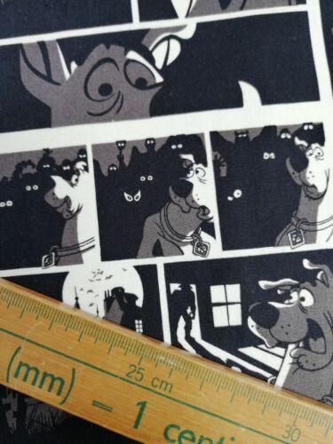Cuarto gordo tela de algodón acolchado Scooby Doo dibujos animados en blanco y negro