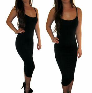Women-Black-Spagetti-Strap-Bodycon-Stretch-Midi-Party-Dress-Size-8-10-12-14