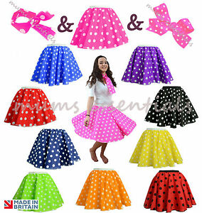 Adults-POLKA-DOT-ROCK-AND-ROLL-50s-SKIRT-amp-SCARF-FANCY-DRESS-COSTUME-Hen-Party