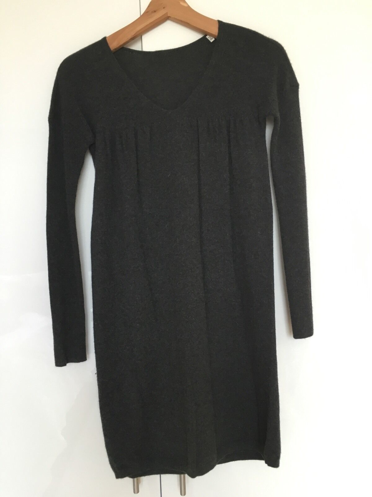 VINCE Cashmere Grey Babydoll Sweater Jumper Dress XS S Small
