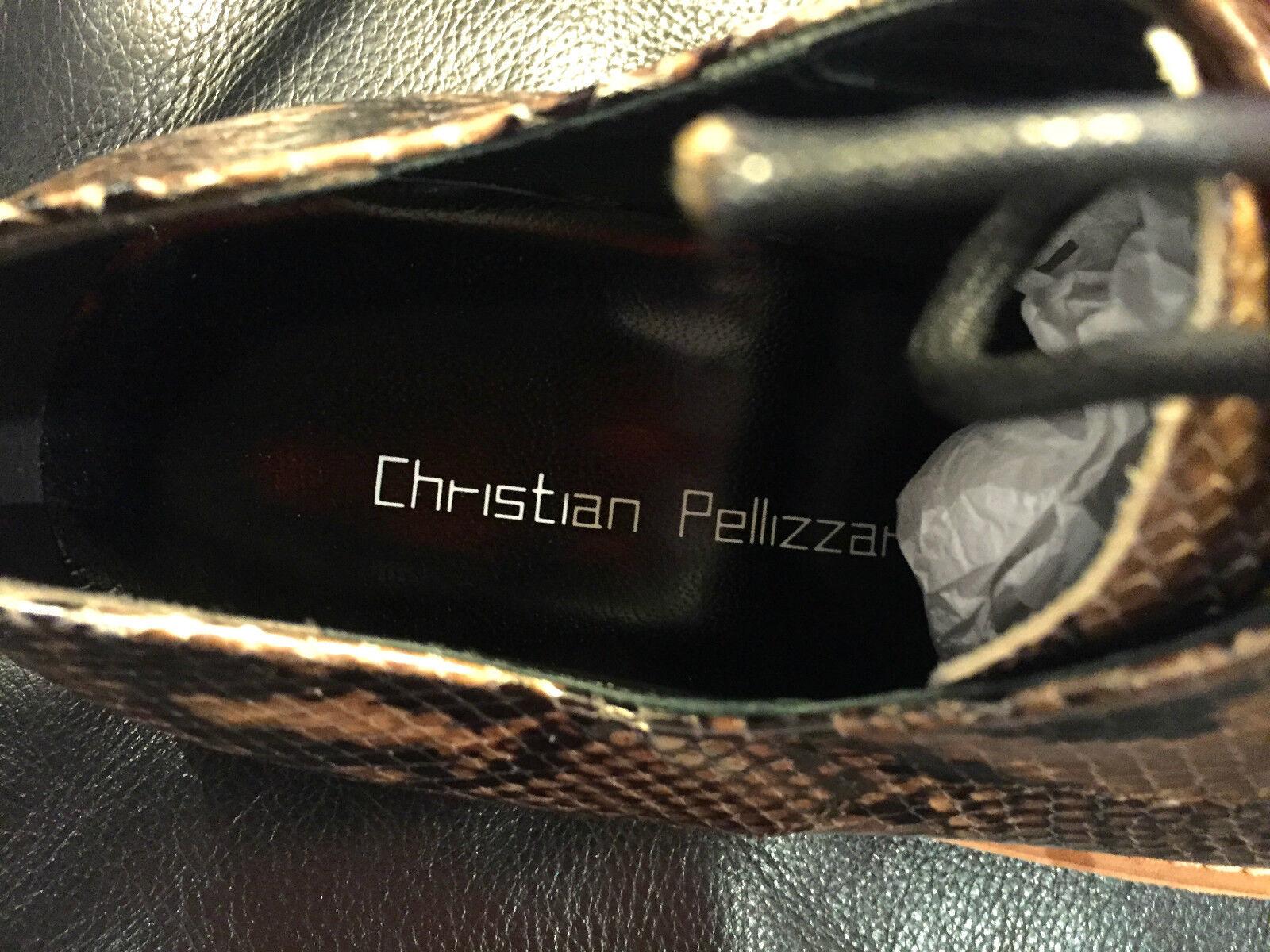 NEW CHRISTIAN PELLIZZARI PYTHON PRINT DERBY VIBRAM SOLE RUBBER SOLE VIBRAM M/ITALY SIZE 40/7 ddbbd9
