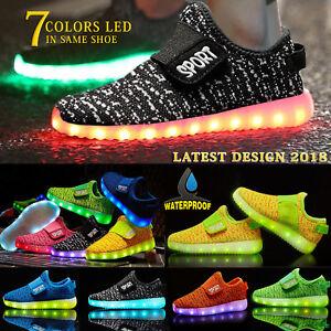 6ea1853b9c43 Kids Boys Girls Light Up Shoes LED Flashing Trainers Casual ...